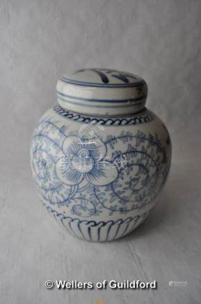 A Chinese blue and white ginger jar and cover,15.5cm.