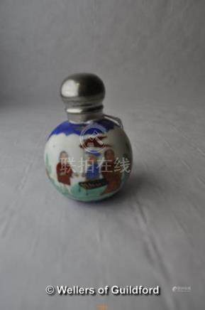 A Chinese porcelain globular scent bottle with silver plated top.