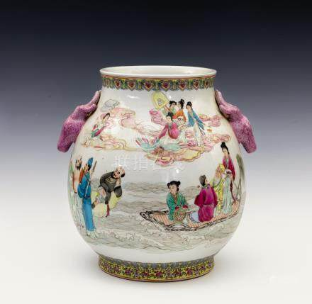 A large Chinese porcelain famille rose twin handle vase, 20th century, ovoid form with slightly