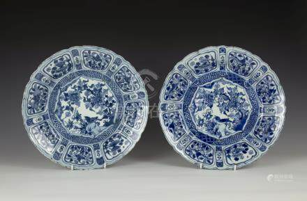 A matched pair of Chinese porcelain kraak dishes, Wanli period, early 17th century, deeply dished