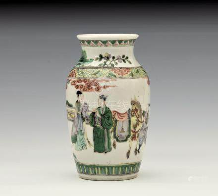 A small Chinese porcelain famille verte vase, probably early 20th century, ovoid form with waisted