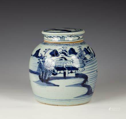 A Chinese porcelain ginger jar and cover, probably 18th / early 19th century, the squat ovoid jar