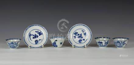 A pair of Chinese porcelain blue and white small saucers, six character Chenghua marks within double