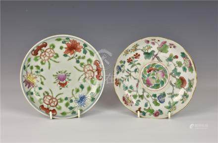 Two Chinese porcelain famille rose dishes, the first circular, with iron red Daoguang six