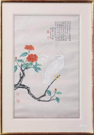 An antique Chinese watercolour on silk of a bird, probably 19th century, the white feathered bird