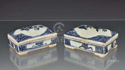 Two Chinese porcelain blue and white covered epitaph or funerary boxes, rectangular with domed