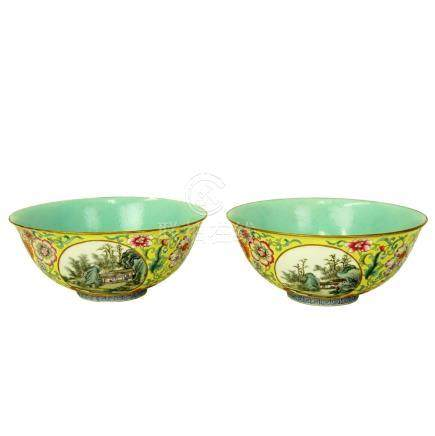 Pair of Early 20th C. Chinese Famille Rose Bowls