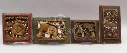 Vier kleine MöbelpaneeleChina, Qing-Dynastie, 19. Jh.In vertieftem Relief, meist durchbrochen