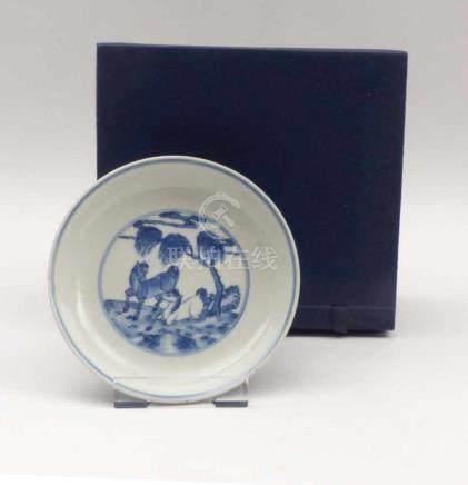 Kleine Schale mit Pferdemotiven20. Jh. oder früher, im Stil der Ming-DynastieRunde Form, im