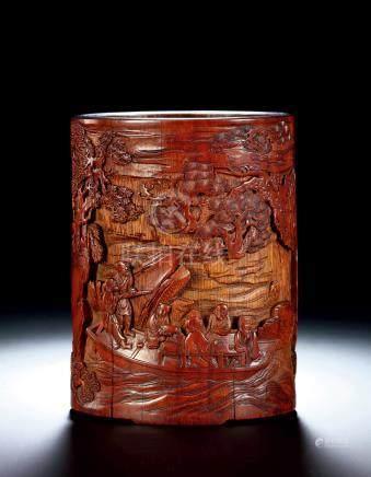 清早期 竹雕赤壁夜游笔筒