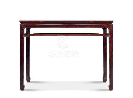清早期紫檀罗锅枨条桌
