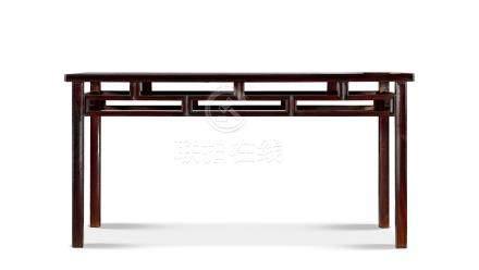 清早期紫檀双直枨矮佬条桌