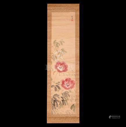 Chinese Scroll Painting with Chrysanthemums