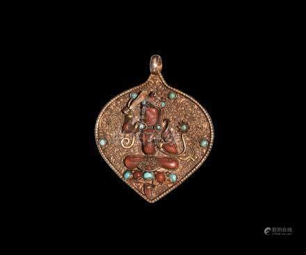 Tibetan Gilt Silver Jewelled Amulet with Shiva