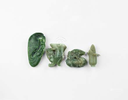 Chinese Carved Jadeite Figurine Group