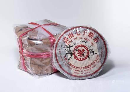 民國89年 千禧紅中紅帶七子餅茶 八片