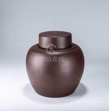 清早期 陳荊溪款 紫砂茶葉罐