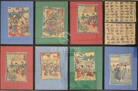 9 Farbholzschnitte, Japan, wohl 19. Jh., teilweise vermutlich mit Stempelsignatur und Zollstempel im