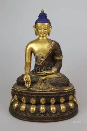 Große Buddha Figur auf Lotussockel, vermutlich Burma, 19/20. Jh., Metalllegierung, Hohlguss,