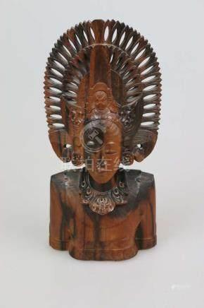 Holzbüste, Indonesien, 20. Jh., Djanger Tänzerin, H.: ca. 32 cm, guter Zustand.