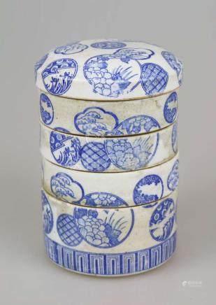 Bento Box, Dosirak, wohl Korea 19. Jh. oder früher, Essensbehälter Porzellan, bestehend aus 4