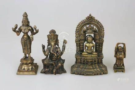 Konvolut asiat. Heiliger, Metallguss, 19./20. Jh.: Ganesha, lachender Buddha, meditierender