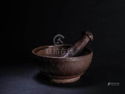 清早期 紫砂胎茶碾