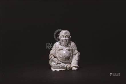 明 ⽟彌勒佛坐 像(⽕燎)