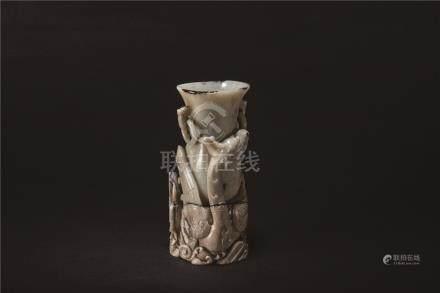 元-明 ⽟龍紋 瓶(⽕燎)