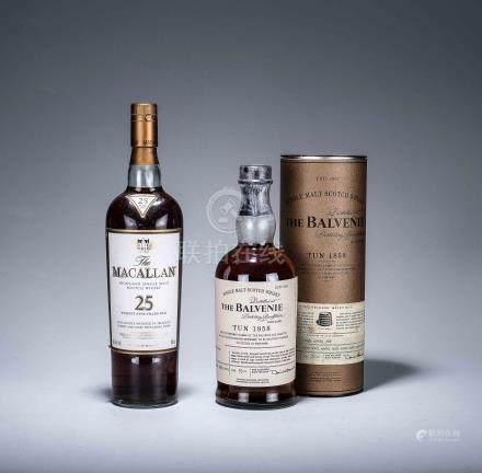 麥卡倫 Macallan 25年 純麥蘇格蘭威士忌 原味經典系列 一瓶、百富Balvenie 1858號桶單一純麥威士忌 一瓶