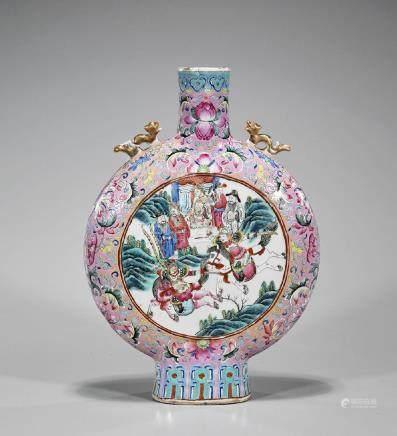 Chinese Qing-Style Famille Rose Enameled Porcelain