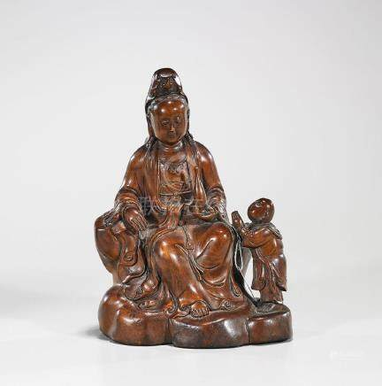 Chinese Carved Hardwood Figure of Guanyin