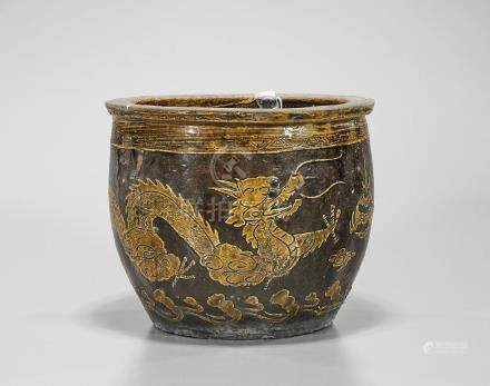 Antique Chinese Glazed 'Dragon' Jardiniere