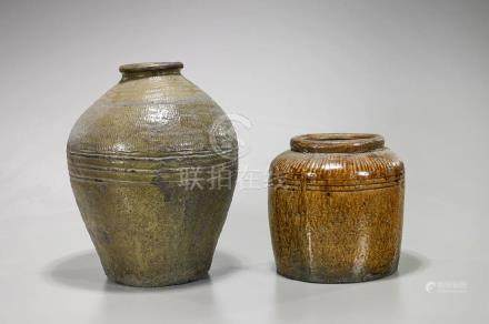 Two Antique Southeast Asian Glazed Pottery Jars