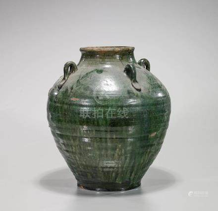 Antique Chinese Green Glazed Pottery Jar