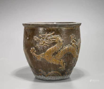 Antique Chinese Moulded & Glazed 'Dragon' Jar