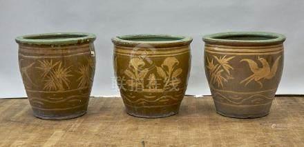 Set of Three Antique Southeast Asian Glazed Jardinieres