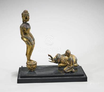 Group of Three Southeast Asian Gilt Wood Pieces