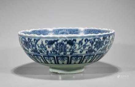 Large Chinese Blue & White Porcelain Bowl
