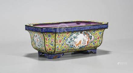 Antique Chinese Enamel on Copper Basin