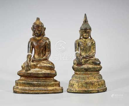 Two Antique Southeast Asian Gilt Bronze Buddhas
