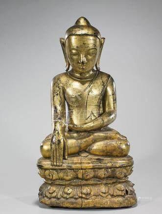 Large Antique Thai Gilt Wood Seated Buddha