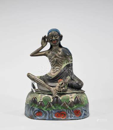 Antique Chinese Polychrome Metal Seated Figure