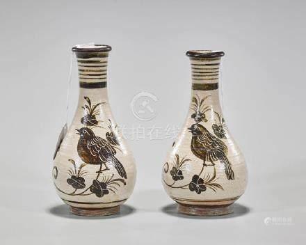 Pair Chinese Song-Style Cizhou Glazed Vases