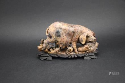 Jade Carved Pig Sculpture