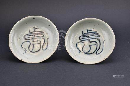 Ming Dynasty Pair of Blue and White Plates