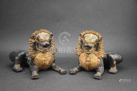 Old Royal Thai Palace solid bronze lions