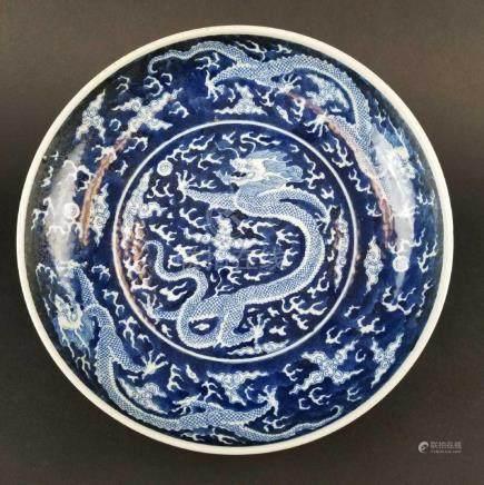 Blue & White Dragon Dish