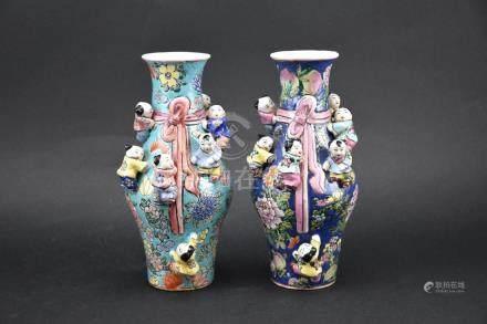 Pair of Famille Rose Fertility Vase