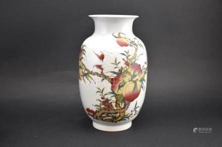 Famille Rose Procelain Peach Vase